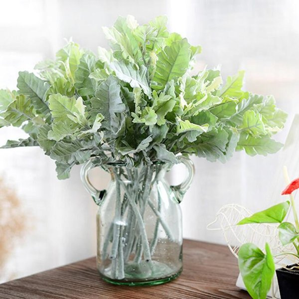 Artificial Fuzzy Dusty Miller Plants Leaf Autumn Fall Home Wedding Christmas Diy Decoration Plastic Fake Flowers Tree Branches