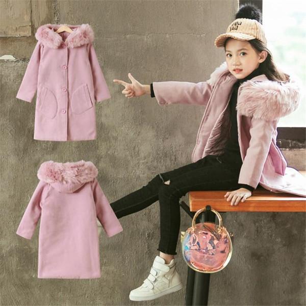Cabrito de la muchacha chaquetas de la capa de lana de invierno para las niñas adolescentes chaqueta caliente del otoño de abrigo rompevientos niños 4T-15T encapuchada de la piel del niño T191023