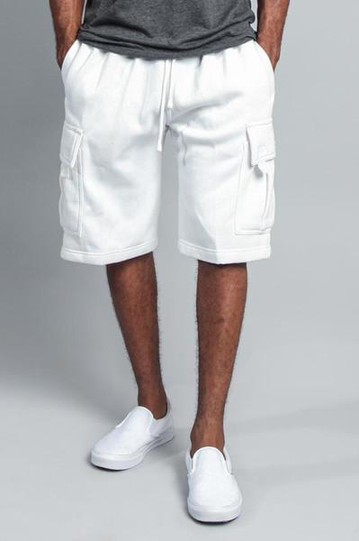Erkek Yüksek Sokak Elastik Bel Şort Pantolon Beş pantolon tulum erkek rahat çok cep gevşek düz takım şort
