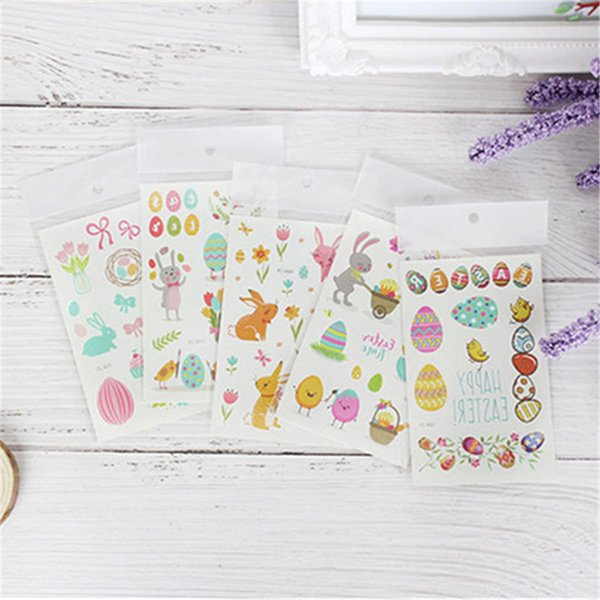12pcs Cartoon Easter Egg Rabbit Colorful Tattoos For Kid Cute Fake Taty Children Body Art Waterproof Temporary Tattoo Stickers