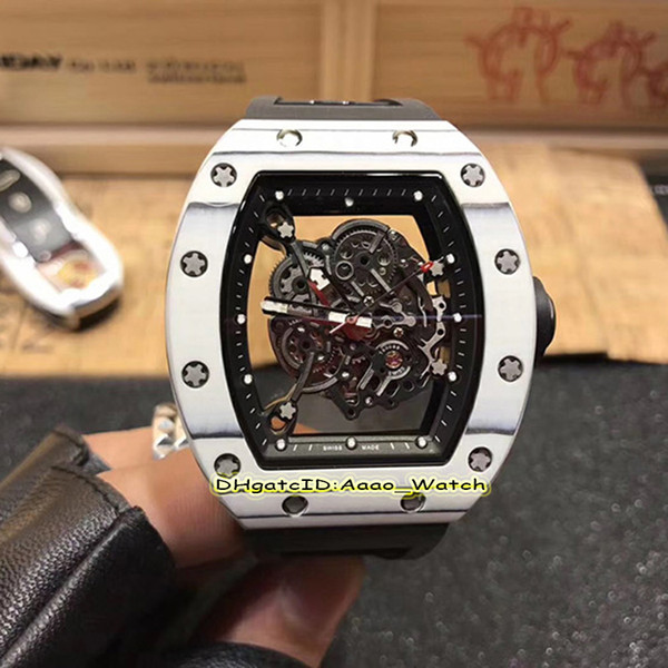 6 Style Top version New RM-055 skeleton Dial White NTPT carbon fiber Case Japan Miyota Automatic Mens Watch White Rubber Strap High Quality