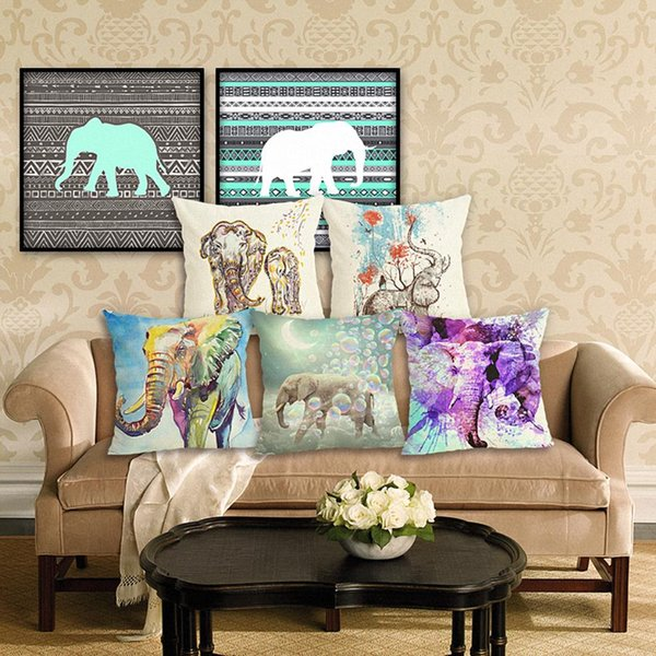 Astonishing 45Cm Elephant Cotton Linen Fabric Throw Pillow Case 18Inch Fashion Hotel Office Bedroom Decor Sofa Chair Cushion Cover Spotlight Outdoor Cushions Pdpeps Interior Chair Design Pdpepsorg