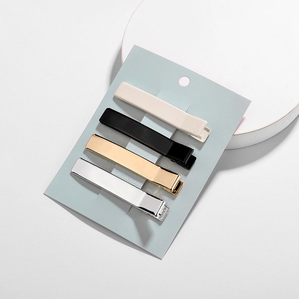 New Gold Silver Black White Color Flat Metal Único Prong Jacaré Grampo de Cabelo Barrette Para Arcos Acessórios Grampos Presentes Artesanato