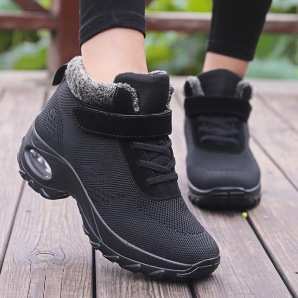 Bottes fourrure d'hiver pour femmes Chaussures chaud en caoutchouc cheville Chaussures Femme Wedge Chaussures Casual Botas Mujer Sneakers Réchauffez Big Taille 42