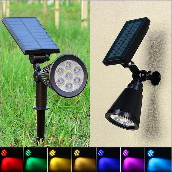 Solar Spotlight Lawn Flood Light Outdoor Pathway Garden 7 LED Lamp Adjustable 7 Color in 1 Wall Lamp Landscape Light Patio Decoration LT1076