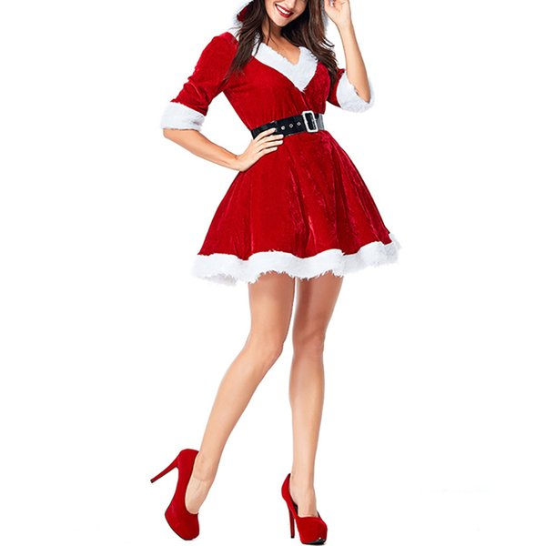 Women Christmas Red V-Neck Half Sleeve Santa Claus Dresses Sexy Fancy Plush Hoodie Ball Grow Mini Dress Cosplay Costume 2018 New