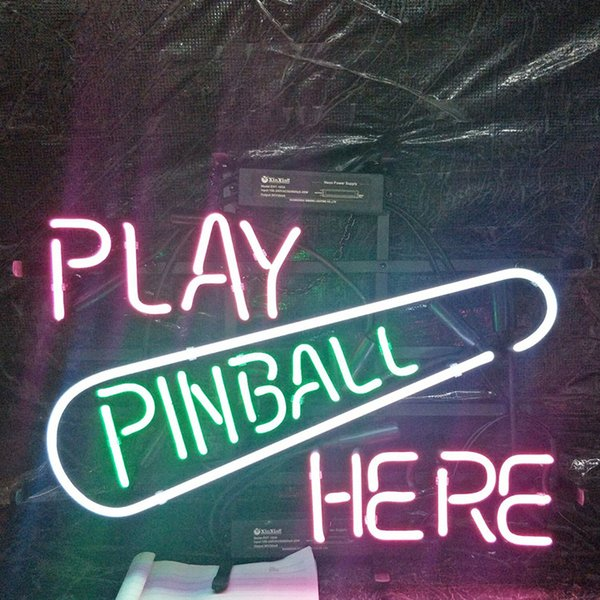 GIOCA PINBALL QUI Neon Sign Holiday Display Advertising Decoration Personalizzato Wall Real Glass Light Metal Frame 17 '' 20 '' 24 '' 30 ''