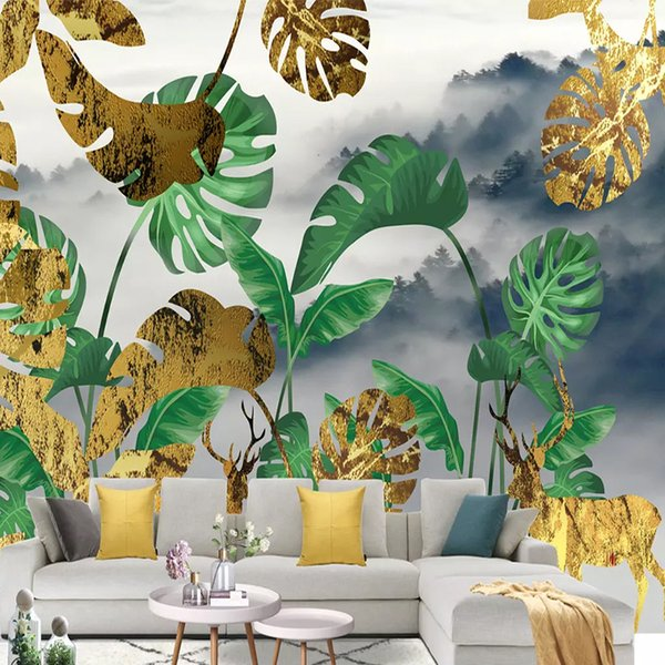 Photo Wallpaper Modern Golden Deer Forest Plant Leaf 3D Murals Living Room Bedding Room Background Wall Painting Papel De Parede
