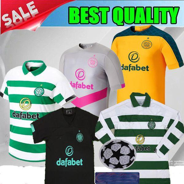 Nome do produto: Glasgow Celtic terceiro cinza Soccer Jersey 19 20 Celtic preto goleiro BITTON BROWN ROGIC CHRISTIE 2020 Celtic FC Camisa de futebol rosa