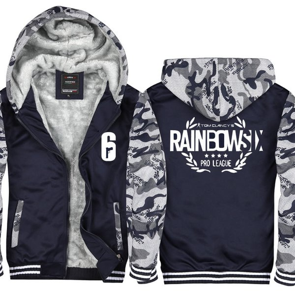 Rainbow Six Manteau à capuche camouflage polaire hiver Épaissir manteau de coton cachemire Veste à capuche Zipper Sweat Réchauffez sport Taille de l'UE des États-Unis