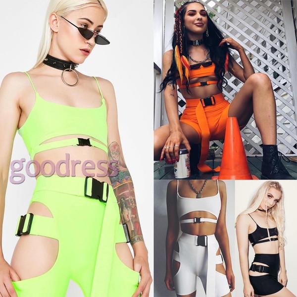Mulheres 2 duas peças Agasalho Top Biker Shorts streetwear Apertado Fivela de encerramento Sexy Outfits Conjuntos de Conjuntos casuais de Verão para o clube do partido