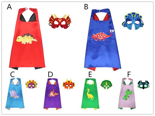Дети Динозавр Плащ 2 шт. Набор маска для глаз + 70x70 см плащ детей Динозавр косплей костюм производительности Праздничная одежда для Хэллоуина 6 цветов B11