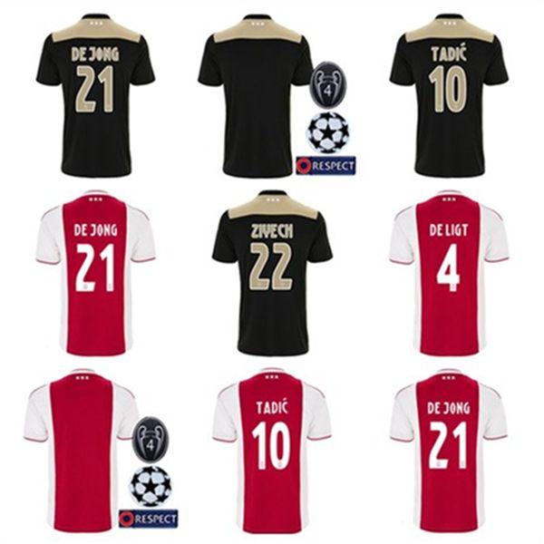 New 18 19 home away Custom AJAX soccer jerseys de Jong de Ligt Tadic Ziyech Neres van de Beek football shirt