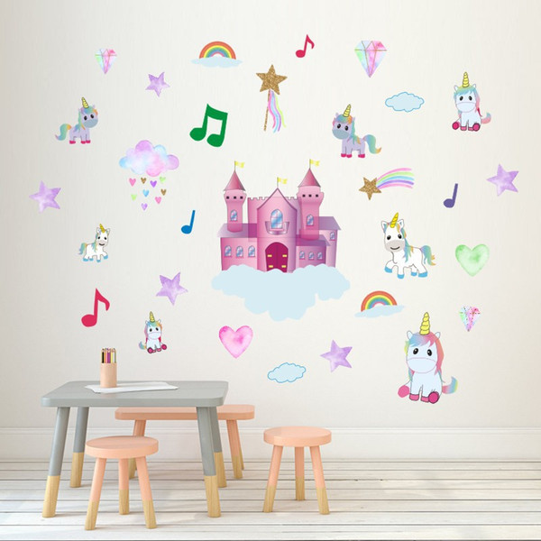 Retail 7 Styles Kids Rainbow Music Castle unicorn wall stickers home decor Art wall sticker Children waterproof Decal Wallpapers Decorations