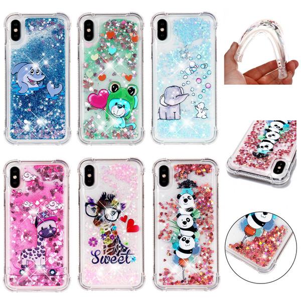 Soft Fashion Love Heart Quicksand Liquid Glitter Silicone Phone Case for iPhone xs max 6.5 iPhone xr Air Cushion Corner Shockproof 03