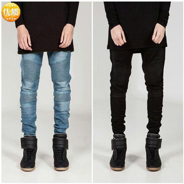 Pantalon de cycliste bicyclette logo populaire froissé slim slim pieds petits jeans jeans