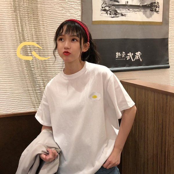 get online details for choose clearance Lazy Egg Embroidered Loose Bf T Shirt Women'S T Shirts Harajuku Ulzzang  Student Sweet Lady Kawaii Ins Chic Tshirt For Women Funny Vintage T Shirts  T ...