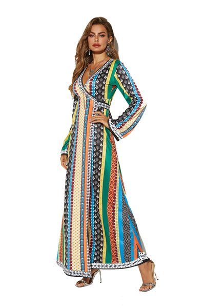 in stock New Style Printed Band Long Sleeve V-Collar African Ethnic Wind Dress Fashion Split Summer Women Long Dresses