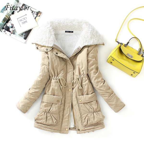 Fitaylor Winter Cotton Coat Women Slim Snow Outwear Medium-long Wadded Jacket Thick Cotton Padded Warm Cotton Parkas T190830