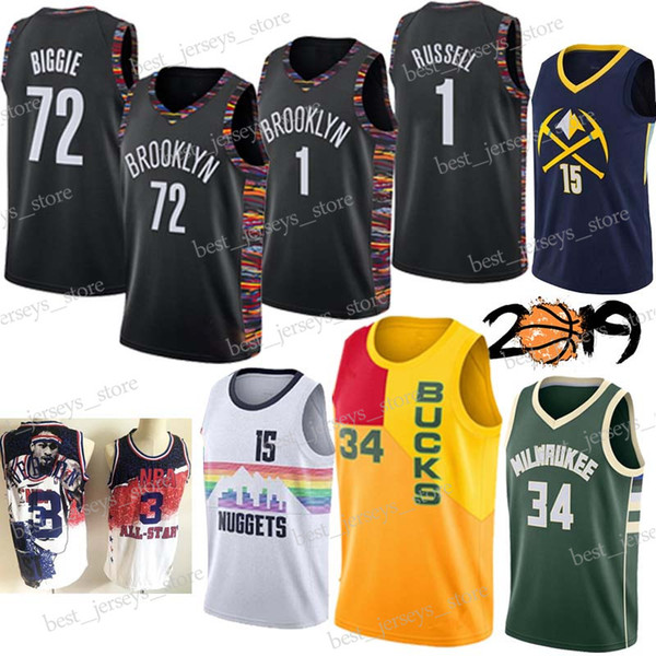 size 40 1dc25 836cc 2019 1 D'Angelo Russell BROOKLYN 34 Antetokounmpo 72 Black Biggie  Basketball Jerseys NETS 15 Jokic Denver Nugget 3 Iverson Giannis Design  Jersey From ...