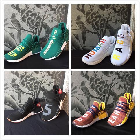 Human Race HU Trail Running Shoes Mens Women Pharrell Williams Runner Yellow Black White Red Green Grey Blue Sports Sneakers 36-47 Big Size