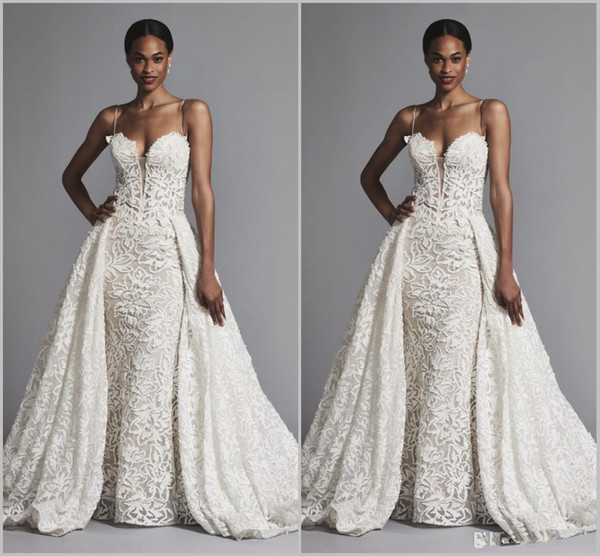 2019 Pnina Tornai Mermaid Wedding Dresses With Overskirts Spaghetti Lace Bridal Gowns Sweep Train plus size Black African Wedding Dress