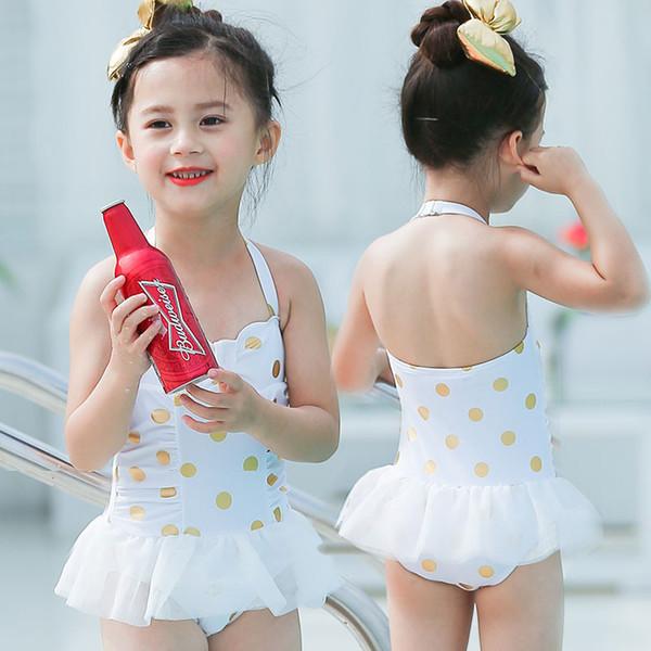 2020 Yeni Yaz çocuk mayo kız Spa bikini kız bikini tek parça mayo bebek kız Altın Polka Dot Bikini çocuklar