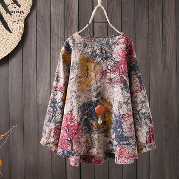 2019 Plus Size Blusas Tunic Women Vintage Print Linen Blouse Female Long Sleeve Shirt Elegant Casual Party Work 5Xl
