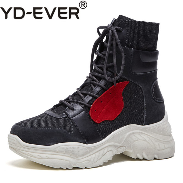 YD-EVER New Brand Women Ankle Boots Wedges Heels Corss-tied Party Shoes Woman Ladies Fashion Cute Short Martin Shoes Basic Boots