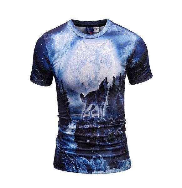 2018 New 3D T Shirt Men Wolf Animal Print T-shirt Summer Short Sleeve Hip Hop Funny Anime Tshirt Men's Brand Tops Tees