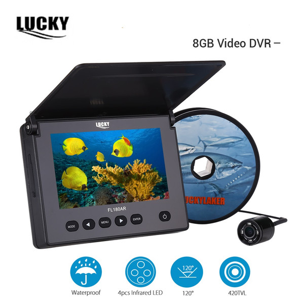"LUCKY 20M Underwater Fishing Camera 4.3"" LCD Monitor Video Recording DVR 4pcs Infrared Led Russian Fish Finder 8GB"