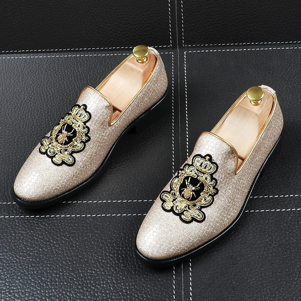 Memorable2019 Sharp Personality Fashion Rhinestone Embroidery Male Summer England Set Foot Small Leather Shoes Increase Shoe