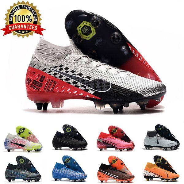 top popular Mens SG Soccer Cleats Metal Studs Grey Checks Superfly Elite Neymar High Top Outdoor Soccer Shoes Ronaldo CR7 Mercurial Football Boots D0805 2020