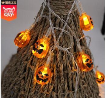 Halloween-Kürbis Laterne String führte Geisterfest Laterne String Geister Spinne Skelett Rack Fledermaus Batterielampenschnur