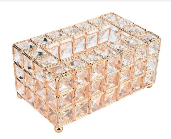 2019 luxury fashion European crystal table centerpieces decoration napkins box Tissue Boxes Home Office KTV Hotel Car Napkin Box Case Holde