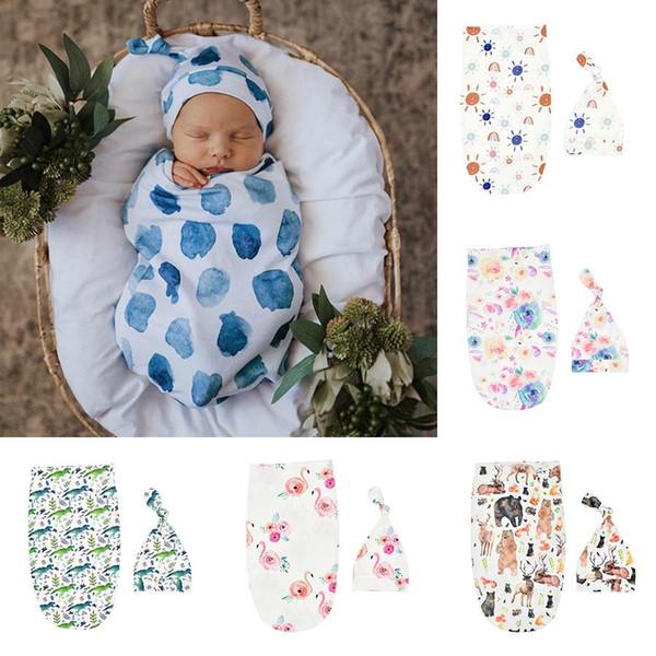 best selling 6 Styles toddler Infant INS Swaddle Boys Girls Bear dinosaur blanket+hat Newborn Baby Soft Cotton Sleep Sack 2pcs Set Sleeping Bags