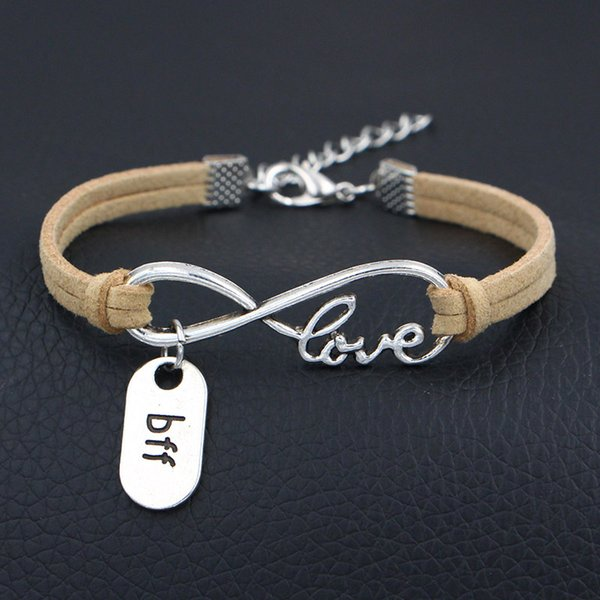 Mode Infinity Amour Garçon Ami Toujours BFF Pendentifs Déclaration Bracelets Pour Femmes Hommes Coréen Velours Beige En Cuir Daim Corde Cadeaux Bijoux