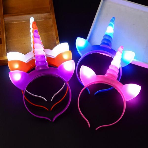 Diadema de unicornio iluminada Diadema de plástico intermitente para niños Adultos Disfraz de cosplay Fiesta de Pascua Favores 5 colores