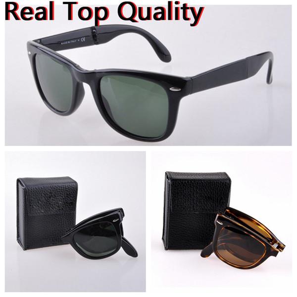 sunglasses folding men women real UV400 glass lenses sun glasses des lunettes de soleil with original folding leather case, accessories!