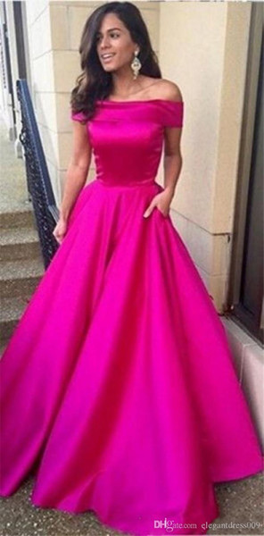 2019 Fuchsia Cheap New Design A Line Prom Dresses Off Shoulder Pleats Floor Length Evening Party Gowns Celebrity Runway Dress Custom Made