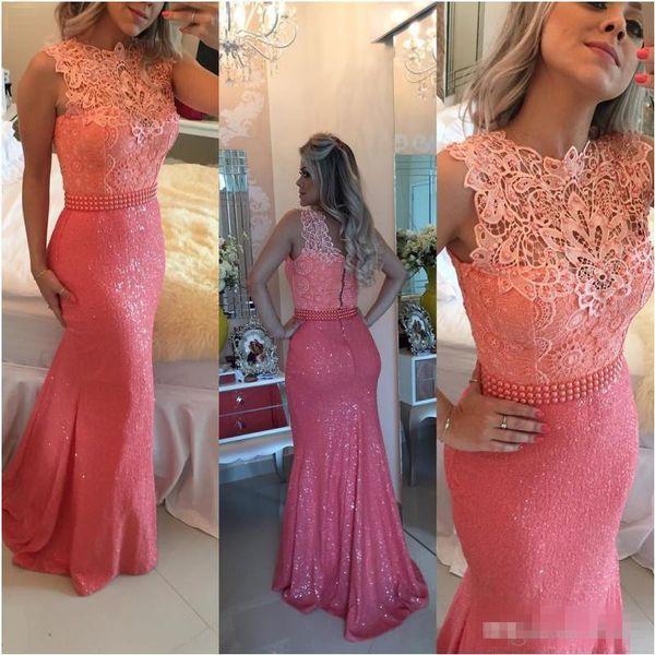 Elegant Lace Long Evening Dresses Bateau Neckline Coral Formal Mermaid Prom Dresses Red Carpet Runaway Celebrity Prom Dress