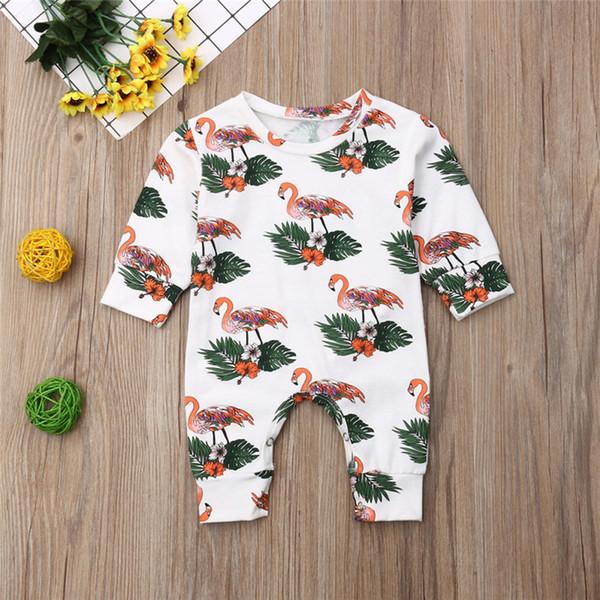 Ins Monos para bebés recién nacidos Mamelucos de manga larga Pantalones de una pieza con estampado de flamencos Mameluco 2019 Otoño Invierno Niños Niñas Body para bebés C82605