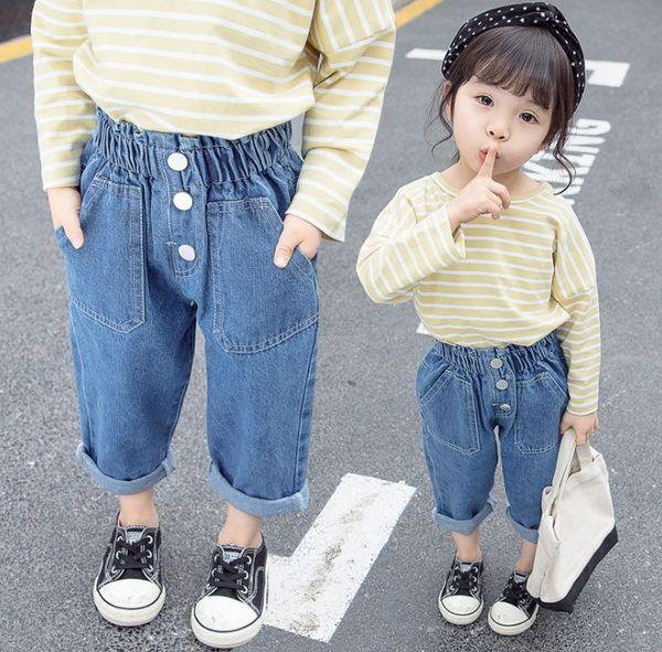 Fashion Kids jeans girls high waist elastic three buckle denim pants 2019 spring new children double pocket loose casual cowboy trouser F372