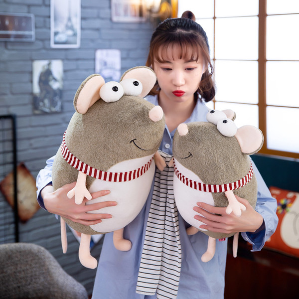 candice guo cute plush toy lovely big eyes smiling mouse stripe scarf fat rat soft stuffed doll creative birthday Christmas gift