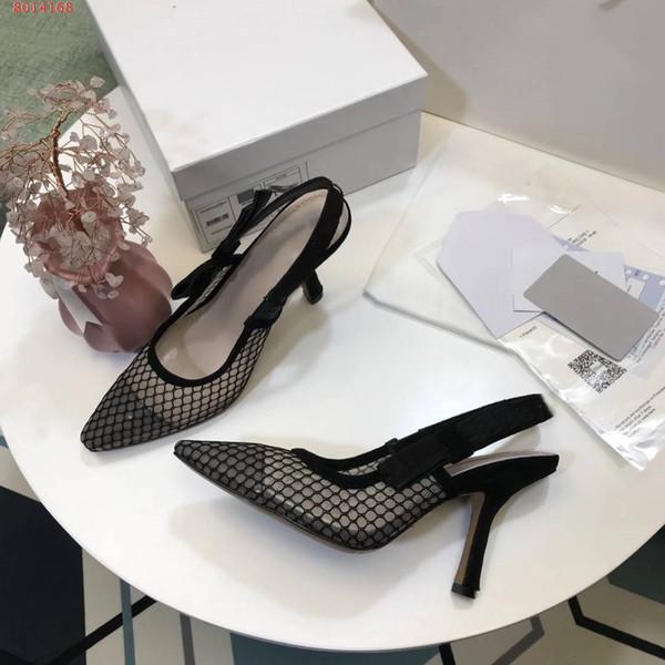 Vendita calda-tacco alto Marca scarpe a punta Designer Slingbacks Pompe Donne maglia nera Sandali nastro ricamato Ladies eleganti scarpe da banchetto