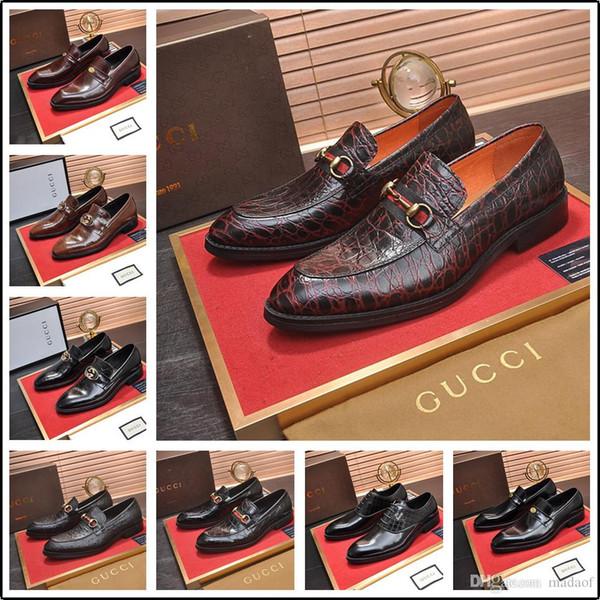 19FF Hot vente Marque Chaussures Hommes mode de luxe en cuir véritable Robe Slip-On Chaussures formelles d'affaires Hommes Pour Mocassins 2019 Nouveau YECQ0
