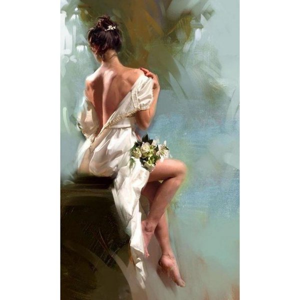 Modern art paintings dancing girl Naked back with white flower hand-painted home decor