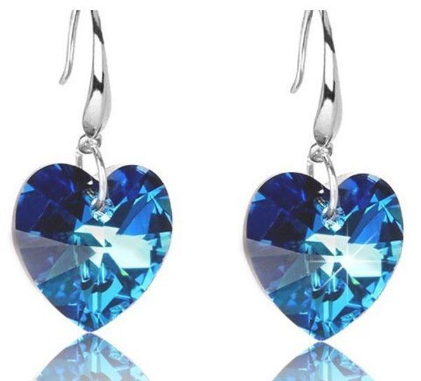 Azul Plateado Plata Cristal Corazón Gota Colgante Gancho Pendientes