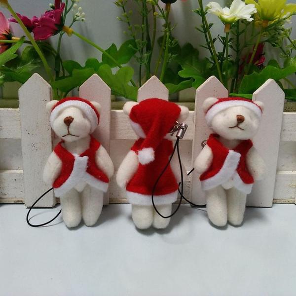 Wholesale- Hot sale H-6cm plush christmas bear mini joint teddy bear ,toys for cartoon bouquet bear,keychain toys, 100 pcs/lot t