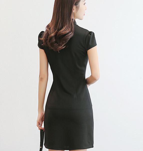 Корейский платье Женская одежда старинные с коротким рукавом платья твердые  одежда стенд шеи летнее платье черный розовый bodycon платье Vestidos 8adb6993e74
